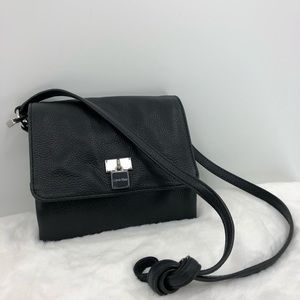Calvin Klein Black Leather Crossbody Handbag Purse